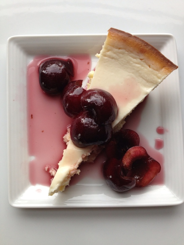 Cheesecake with wine soaked cherries