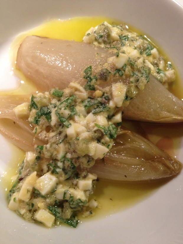 Braised Endive with sauce Gribiche