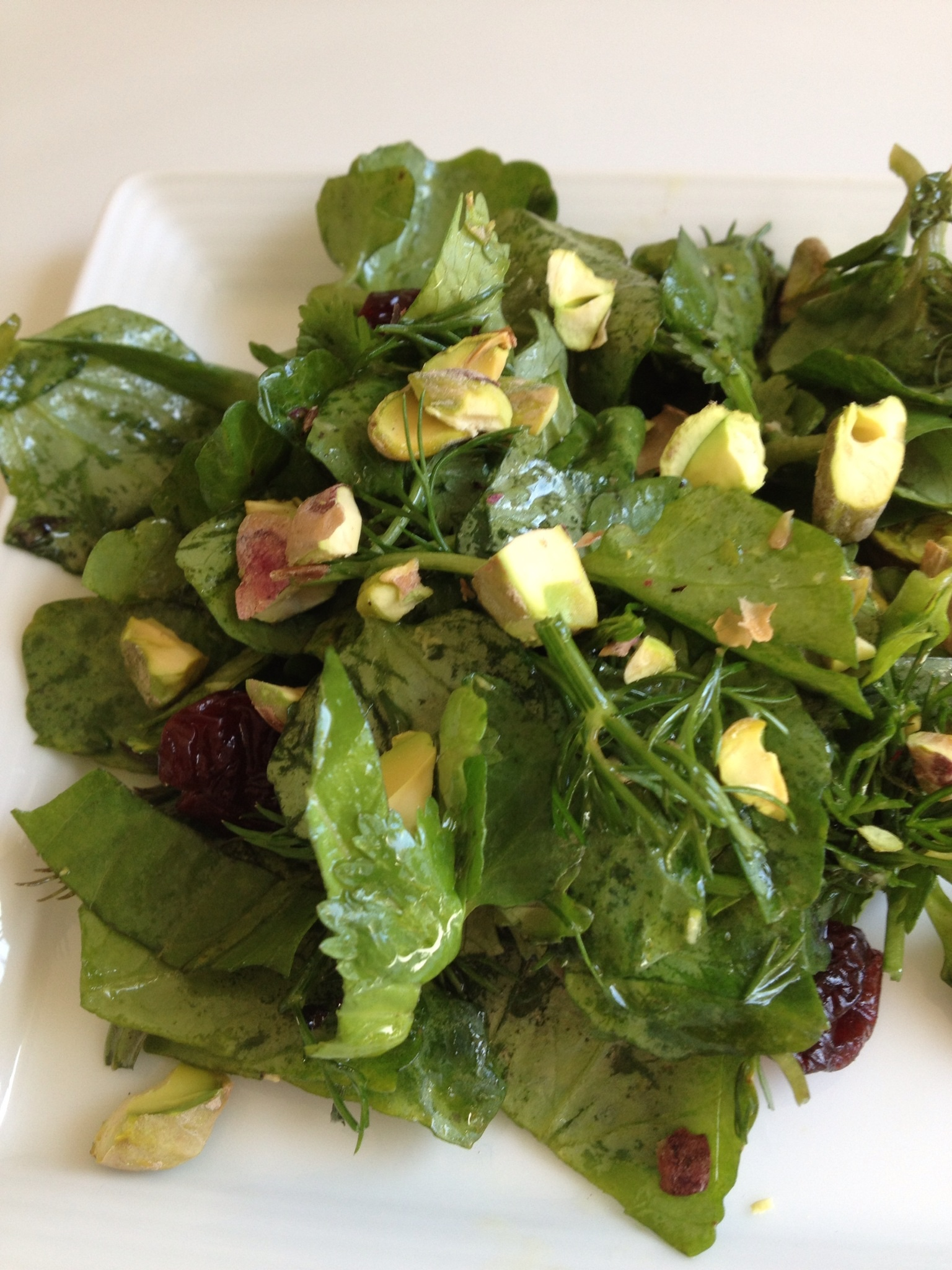 Watercress, Pistachio, Cherry Salad