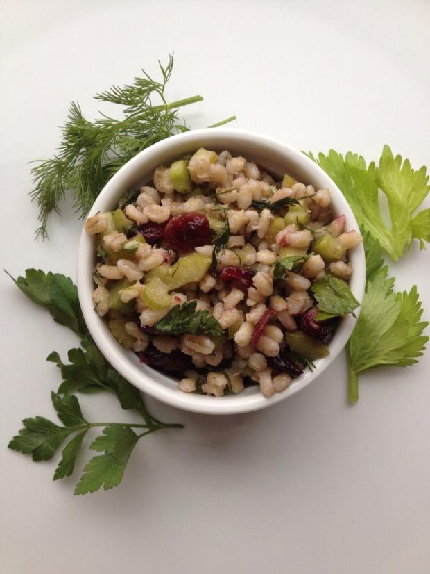 Barley, celery & cranberry salad