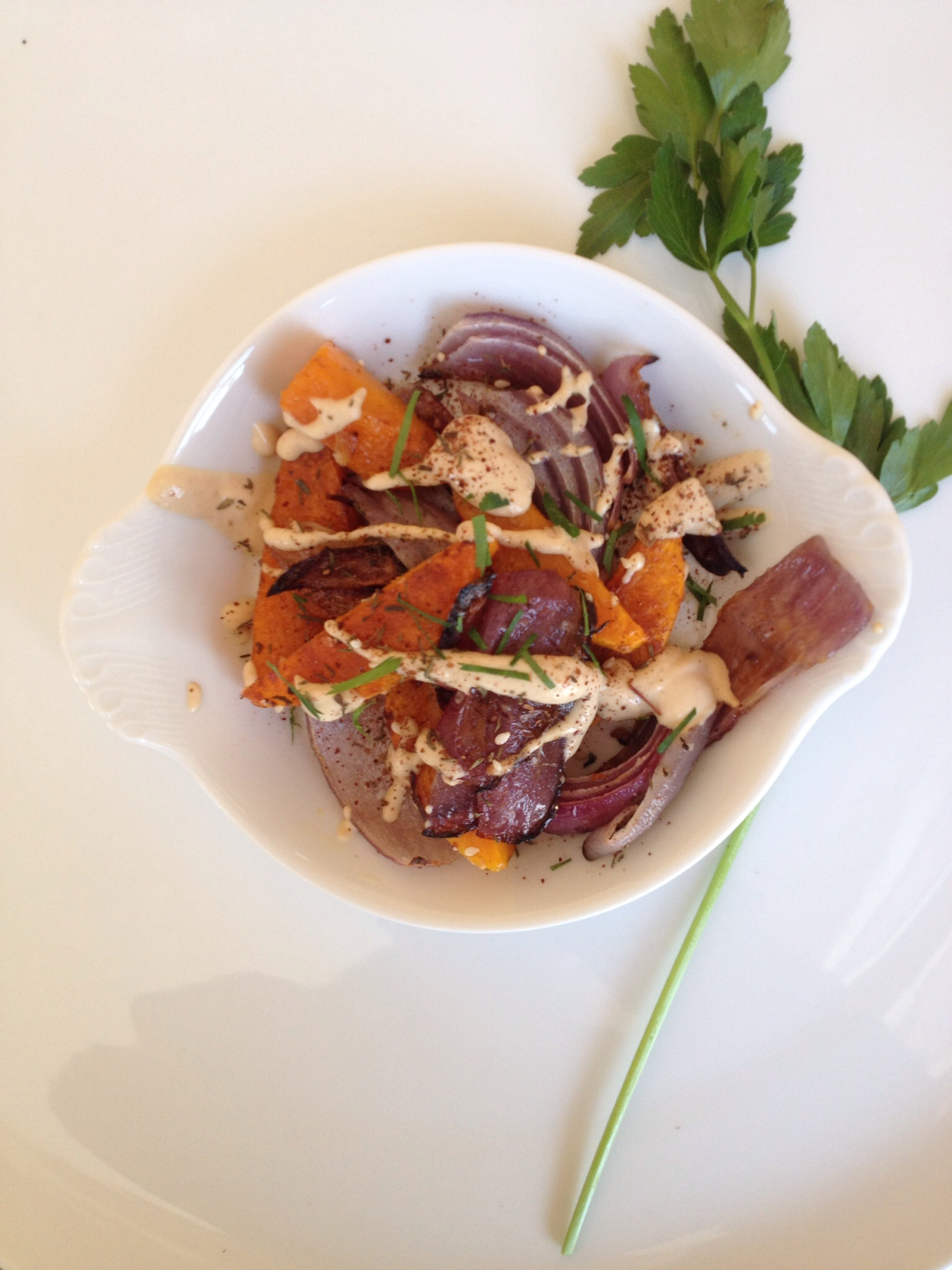 Roasted Butternut squash & Red Onion with Tahini